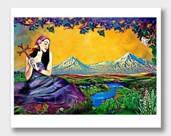 Mount Ararat Old Armenian Man Armenia Paintings Cross Art