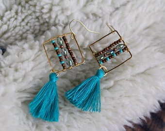 Teal Tassels and Sparkle Blue