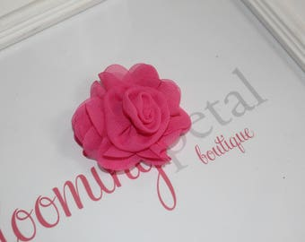 Hot Pink Chiffon Rose Flower Clip