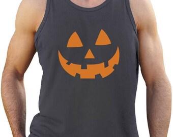 Orange Jack O' Lantern Pumpkin Face Halloween Costume Singlet