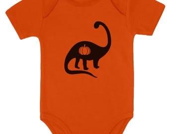 Halloween Dinosaur Jack O' Lantern Pumpkin Baby Bodysuit