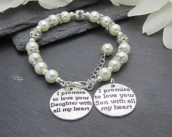 Mother Of The Bride Groom Charm Bracelet, Ivory Pearl Keepsake Parents Gifts, Wedding Gift For Mum, Mother In Law Gift, Brides Gift To Mum,