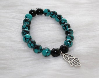 Boho Beaded Bracelet: Blue and Black Marble Beads with Hamsa Hand
