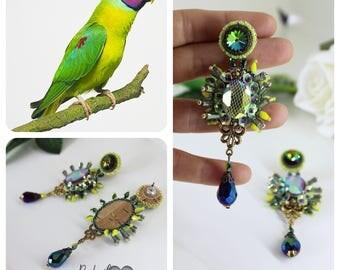 Long crystal earrings, bead embroidery fantasy earrings, green, statement earrings, beaded dangle, chandelier earrings, dangle prom