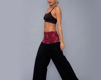 Wide Yoga pants - Cotton Pants - maternity - Woman- Maroon Top