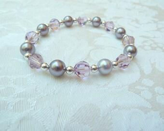Swarovski Mauve Pearl Light Amethyst Crystal Stretch Bracelet- Swarovski Purple Stretch Bracelet-Swarovski Bridesmaids Stretch Bracelet- 623