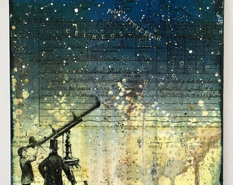 The Astronomers Mixed Media Painting, Astronomy, Night Sky, Starry Night