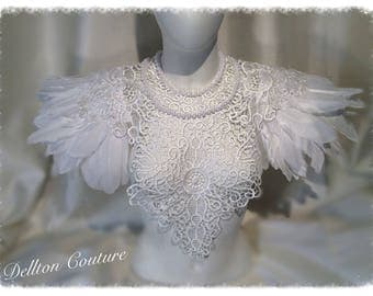 White, Lace,Pearl and Feather Epaulettes Collar Bib Victorian