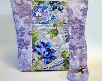 Quilted Tote, Crossbody Bag, Zippered Tote, Purple Tote, Floral Tote, Woman's Tote, Turquoise Tote