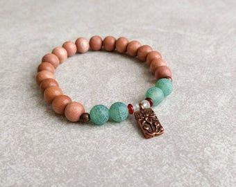 Rosewood Bracelet with Agate Lotus Charm - Harmony  & Confidence - Yoga Bracelet - Mala Bracelet - Wrist Mala - Energy Bracelet  - Item #361