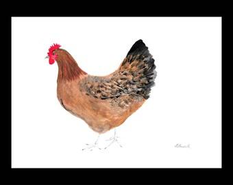 Chicken art original watercolour painting Hen painting Bird watercolour nursery art Chicken painting Hen watercolour 12 x 9 inch