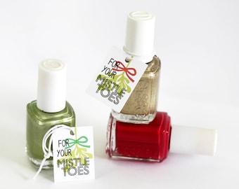 For Your Mistle Toes Christmas Tags, Xmas Nail Polish Gift Tags, Tiny Holiday Stocking Stuffer, Cute Holiday Gift Tags, Polish Tags