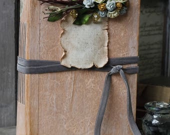 Peach and grey rustic woodland wedding guest book | Boho Floral wedding memory scrapbook album | Baby Journal | Made To Order 8.5x6 inches