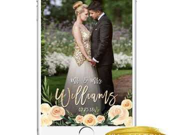 Wedding Snapchat Geofilter, Wedding Day Snapchat Filter, Beautiful Watercolor Roses Geotag String Lights Classy Sparkly, Snapchat Wedding