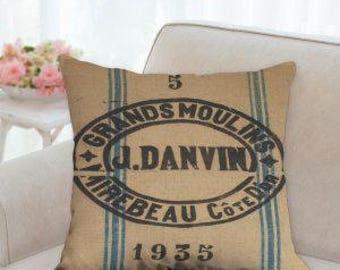 Grain Sack Designer Pillow  (not real grain sack)