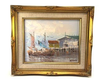 Vintage Original Sailboat Harbor Ship Painting Signed - Framed Canvas Ocean Beach House Nautical Art Mid Century Sailing - Palm Beach Decor