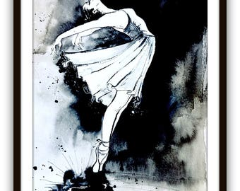 Ballerina Original Watercolor Painting, Black and White, Ballet Dancers, Ballerina Girls Room, One of a Kind, Lana Moes Art, Dance Inspired