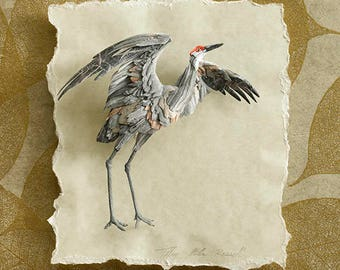 Raising Wings - Giclee Fine Art Print of Sandhill Crane Paper Sculpture