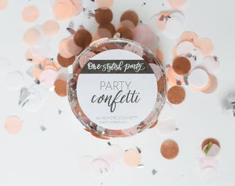 Party Confetti - Prosecco - Light Pink, Peach, White, Rose Gold, Silver Confetti - Chic Party Decorations