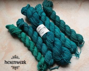 hand dyed sock yarn wool 4-ply gradient ocean