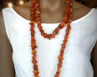 "Vintage Raw Unpolished Amber Necklace 55"" length"