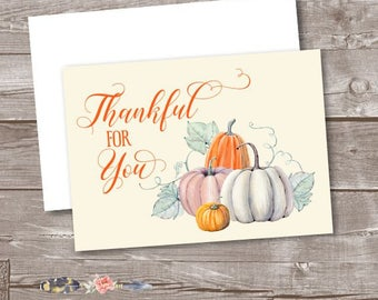 Fall Thank You Cards, Autumn Thank You Cards, Pumpkin Blank Note Cards, Thankful for You Note Cards, Fall Wedding or Bridal Thank You Cards