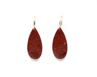 Red Teardrop Hoop Earrings - Rhyolite Jasper Jewelry - 14K Gold Filled - One Of A Kind