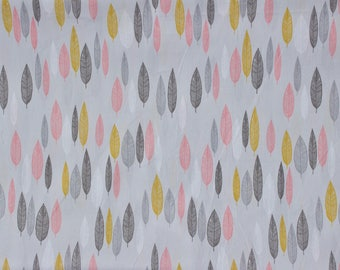 "FISRT LIGHT fabric by Eloise Renouf - Leaf Line-Up in Pink - Cloud 9 Fabric - Organic cotton - Half metre (19.5"")"