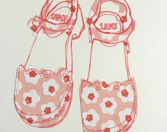 Hand Screen print and collage inspired by Swedish Clog/shoes illustration fashion print