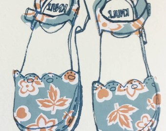 Blue floral Swedish Stockholm shoe/clog hand screen print illustration 8x6 art