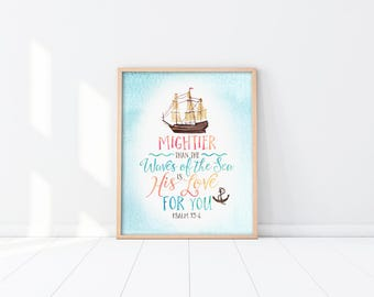 Baptism Gift - Nursery Art Printable - Mightier than the waves - Nautical - Bible Verse - Blue - Christening - Scripture Quote - SKU:3498