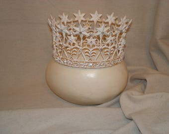 Gold Star White Crown Tiara Distressed Gilt Queen Bride Madonna Regal Statue Princess Headdress Magical Sparkle Stunning