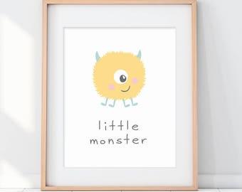 Little Monster Kids Room Decor, Yellow Monster Art Print, Yellow and Mint, Monster Toddler Room Art, Cute Monster Poster, Cute Kids Poster