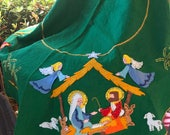 Vintage Christmas Handmade Felt Tree Skirt or Table cloth