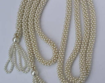 Vintage faux small glass pearls long necklace tubular design