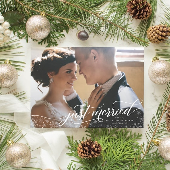 Newlywed First Christmas Card, Just Married Holiday Cards with Wedding Photo, Winter Marriage Announcement with Snowflakes | Just Merried