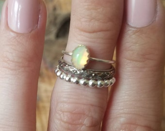 Ethiopian Opal Stacking Ring Set/ Natural Opal Ring/ October Birthstone Ring/Size 5
