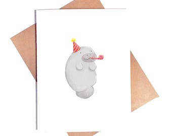 Manatee Birthday Card