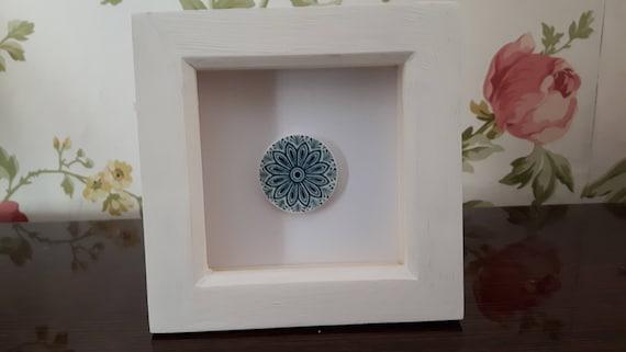 Vintage porcelain framed art. Blue and white china.   Broken china. Floral china. Floral porcelain. Box frames.  7.5cm. Handmade in Wales UK