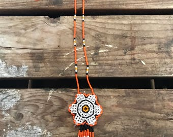 Adorable Handmade Native American Beaded Flower Necklace
