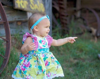 Buy 2 Get 1 Free...Ruthie's Picnic Dress Girl's Retro Ruffled Bodice ..Instant Download PDF Sewing Pattern, 3-6M to 12