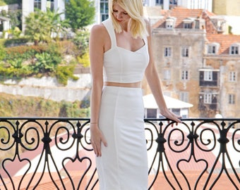 Strappy Sweetheart Wedding Bridal Crop Top.  Stretch Jersey Fitted Bralet for Casual Bride, Bridesmaid, Hen Party or Wedding Reception