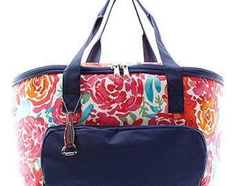 Personalized Floral Large Cooler Bag Monogrammed Insulated Tote