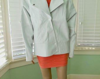 Womens White LEATHER JACKET/White Leather Jacket/Mod Jacket/80s Leather Jacket/BONNIE/Cashin Style/80s Vintage Leather Coat/Size Medium
