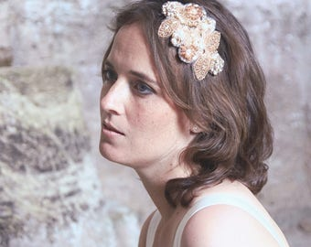 Bridal rose gold headpiece, bridal hairaccessory in rose gold, wedding headpiece, wedding hairaccessory,