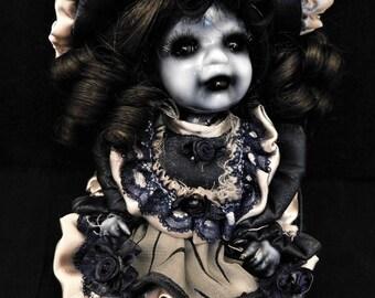 "Yoru 9"" OOAK Porcelain Horror Doll"