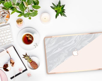 Marble Nude and Rose Gold Edge Detailing Hard Case for Apple Macbook Air & Mac Pro 13 Retina -  Platinum Edition