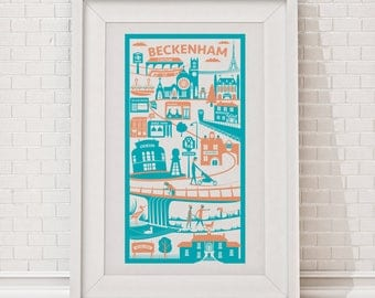 Beckenham Print | London illustration | New home gift | South London print | London poster | Housewarming gift | London wall art