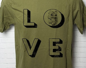 Love Koala 100% Certified Organic Cotton T Shirt Grunge Distressed Made in the USA with Wildlife Australia Herbivore Animal Bear