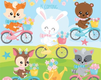 80% OFF SALE Spring animals clipart commercial use, clipart, vector graphics, digital clip art - CL1126